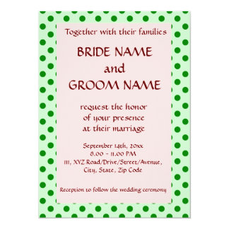 Wedding - Green Polka Dots, Pink Background Card
