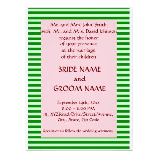 Wedding - Green Stripes, Pink Background Card