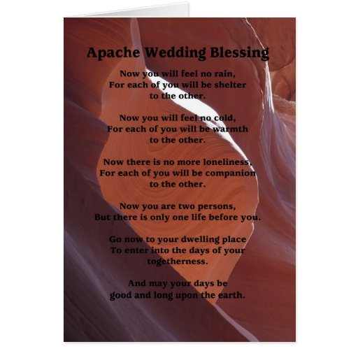 Apache Wedding Blessing: Wedding Greeting Card Apache Blessing Feel No Rain