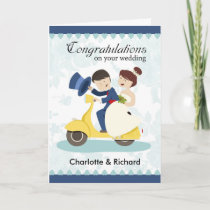 Wedding Greeting Card, couple on scooter customize Card