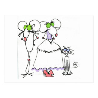 WEDDING GREETINGS MICE CRITTER & SKCAT POSTCARD