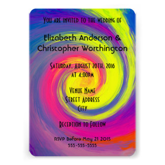 Wedding  Groovy Rainbow Colors Spiral Swirl Card