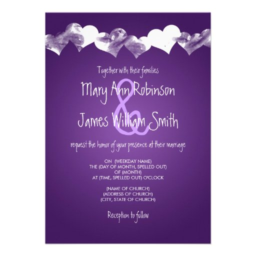 Wedding Grunge Hearts Purple Personalized Invite