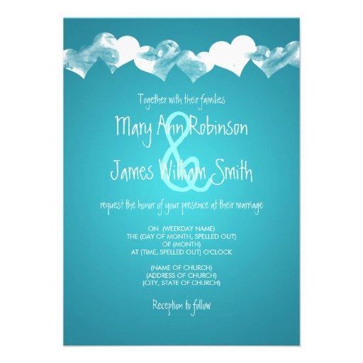 Wedding Grunge Hearts Turquoise Invite