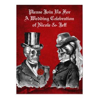 Wedding Grunge Skull Couple Custom Invitation
