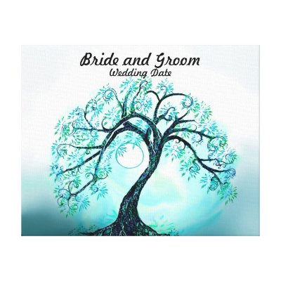 Wedding Guest Book Alternative Blue Tree of Life Canvas Prints by
