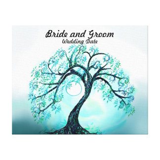 Wedding Guest Book Alternative Blue Tree of Life Canvas Prints