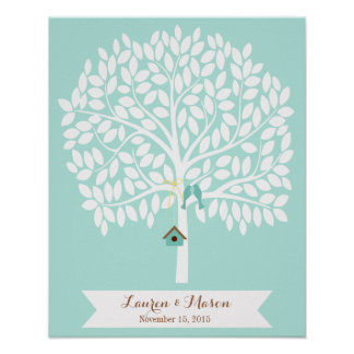 Wedding Guest Book Alternative Tree, blue leaves