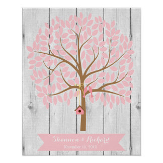 Wedding Guest Book Alternative Tree, pink leaves