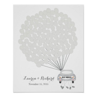 Wedding Guest Book Alternative with gray balloons Poster