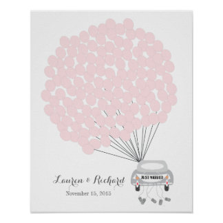 Wedding Guest Book Alternative with pink balloons Poster