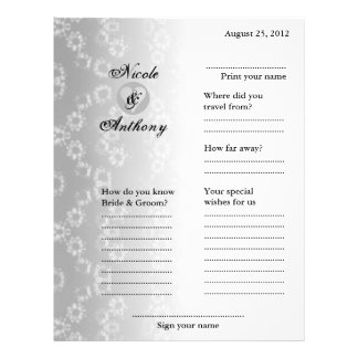 Wedding Guest Book Attended Vertical Gray Floral Flyer