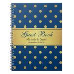 Wedding Guest Book Blue Gold Glitter Polka Dots Spiral Note Book