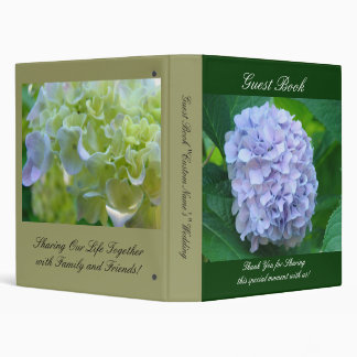 Wedding Guest Book Blue Hydrangea Flower Thank You Binder