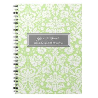 Wedding Guest Book Green Gray Damask Notebook