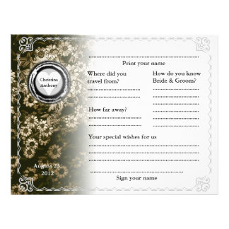 Wedding Guest Book Horizontal Gold Floral Flyer