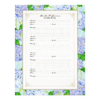 Wedding Guest Book Page Blue Hydrangea Lace Floral Flyer