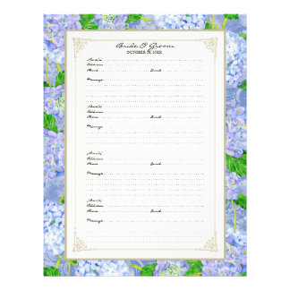 Wedding Guest Book Page Blue Hydrangea Lace Floral Personalized Flyer