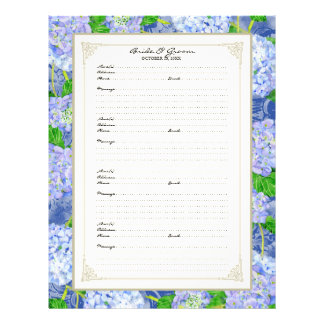 Wedding Guest Book Page Blue Hydrangea Lace Floral Flyer Design