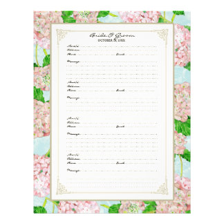 Wedding Guest Book Page Pink Hydrangea Lace Floral Flyers
