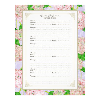 Wedding Guest Book Page Pink Hydrangea Lace Floral Custom Flyer