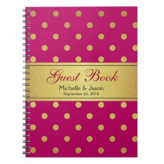 Wedding Guest Book Pink Gold Glitter Polka Dots