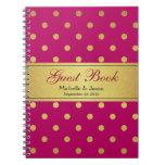Wedding Guest Book Pink Gold Glitter Polka Dots Spiral Notebook
