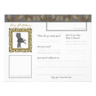 Wedding Guest Book Sheet Horizontal Gold Leaf flyer