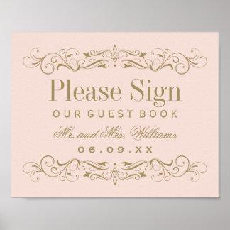 Wedding Guest Book Sign | Antique Gold Flourish