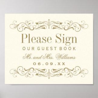 Wedding Guest Book Sign   Antique Gold Flourish