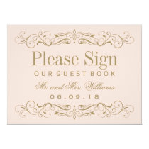 Wedding Guest Book Sign | Antique Gold Flourish 6.5x8.75 Paper Invitation Card