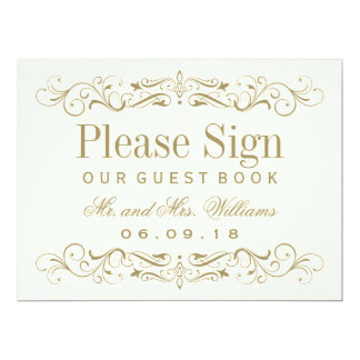 Wedding Guest Book Sign | Antique Gold Flourish 6.5x8.75 Paper Invitation Card