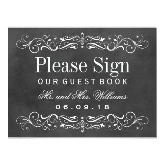 Wedding Guest Book Sign | Chalkboard Flourish Card