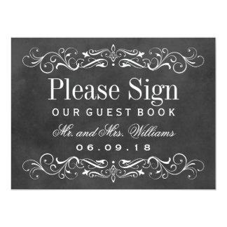 Wedding Guest Book Sign | Chalkboard Flourish 6.5x8.75 Paper Invitation Card