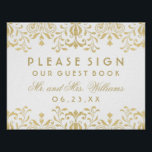 "Wedding Guest Book Sign | Gold Vintage Glamour<br><div class=""desc"">Elegant vintage inspired wedding guest book sign with gold colored monogram. Features a champagne gold colored ornate decorative border design that is printed with a metallic shimmer appearance.</div>"