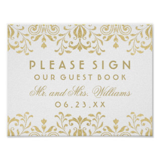 Wedding Guest Book Sign | Gold Vintage Glamour Poster at Zazzle