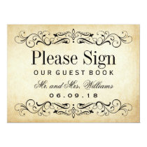 Wedding Guest Book Sign | Vintage Flourish 6.5x8.75 Paper Invitation Card