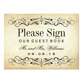 Wedding Guest Book Sign | Vintage Flourish Card