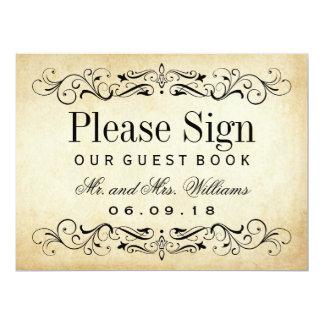 Wedding Guest Book Sign | Vintage Flourish Card