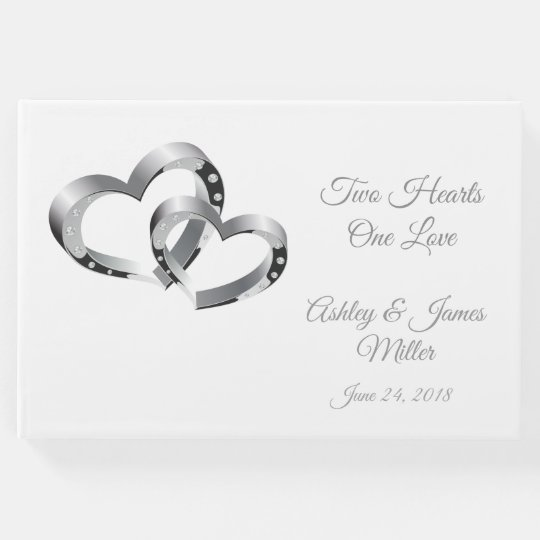 Wedding Guest Book Two Hearts Guest Book Zazzle