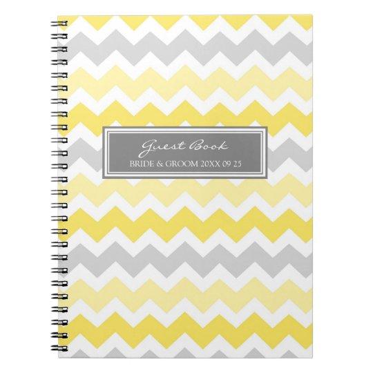 Wedding Guest Book Yellow Gray Chevron Notebook