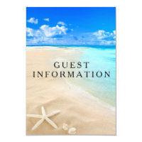 Wedding Guest Information Card Starfish Beach