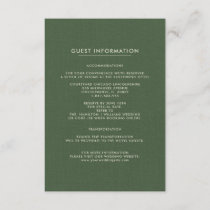 Wedding Guest Information Cards | Green Pattern