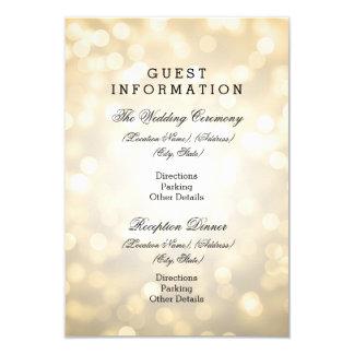 Wedding Guest Information Gold Glitter Lights Card