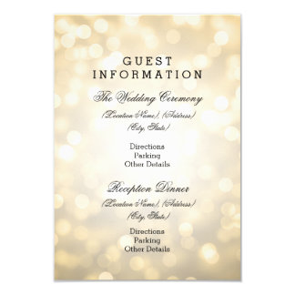 "Wedding Guest Information Gold Glitter Lights 3.5"" X 5"" Invitation Card"