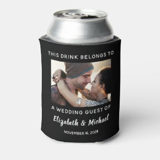 Wedding Guest Personalized Photo Black Can Cooler