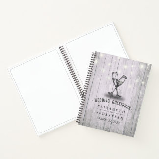 Wedding Guestbook Champagne Glasses Wood Lights Notebook