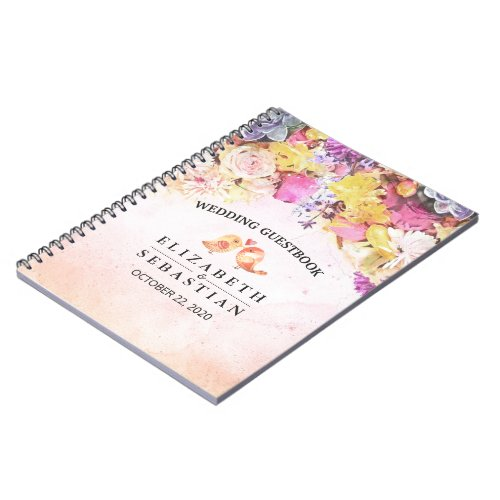Wedding Guestbook Chic Colorful Watercolor Flowers Notebook