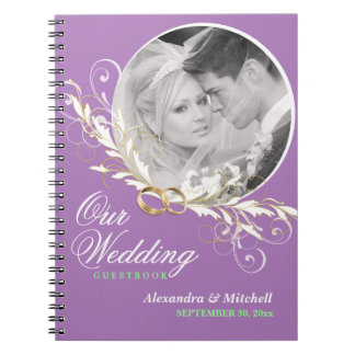 Wedding Guestbook Custom Photo - Lavender Mint Note Book