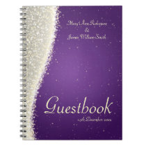Wedding Guestbook Dazzling Sparkles Purple Notebook